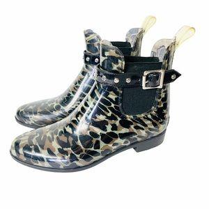HALOGEN Leopard Print Chelsea Rain Boots